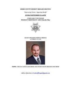 Berks County Sheriff's Brigade Presentation