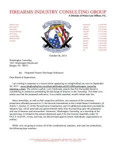 Letter to Washington Township